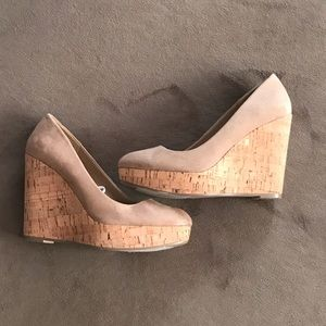 Closed toe suede wedges